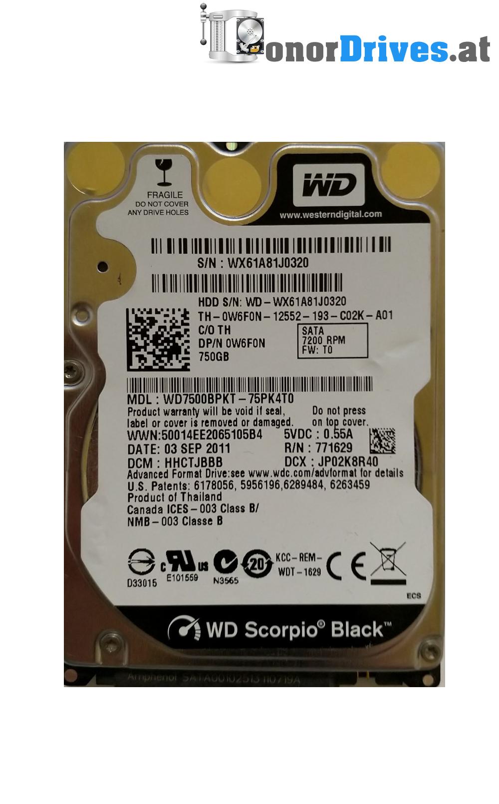 WDC WD7500BPKT-75PK4T0 DRIVERS PC